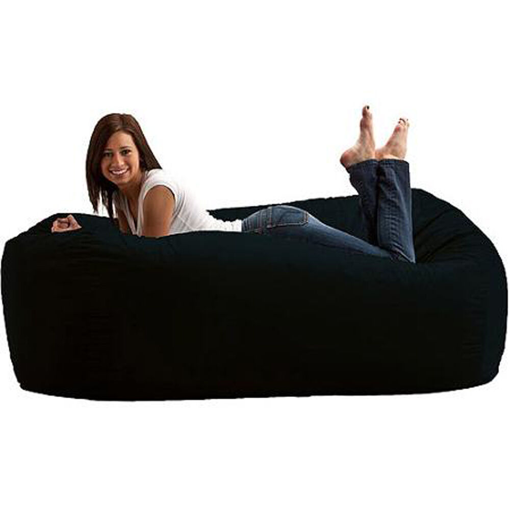 Large Media Lounger 6 39 Fuf Black Bean Bag Oversize Memory Foam Chair Lounge Big Ebay