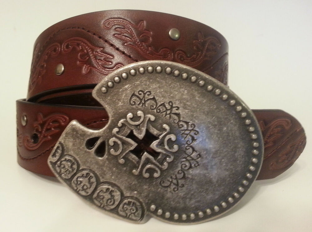 studded western style brown leather belt skull