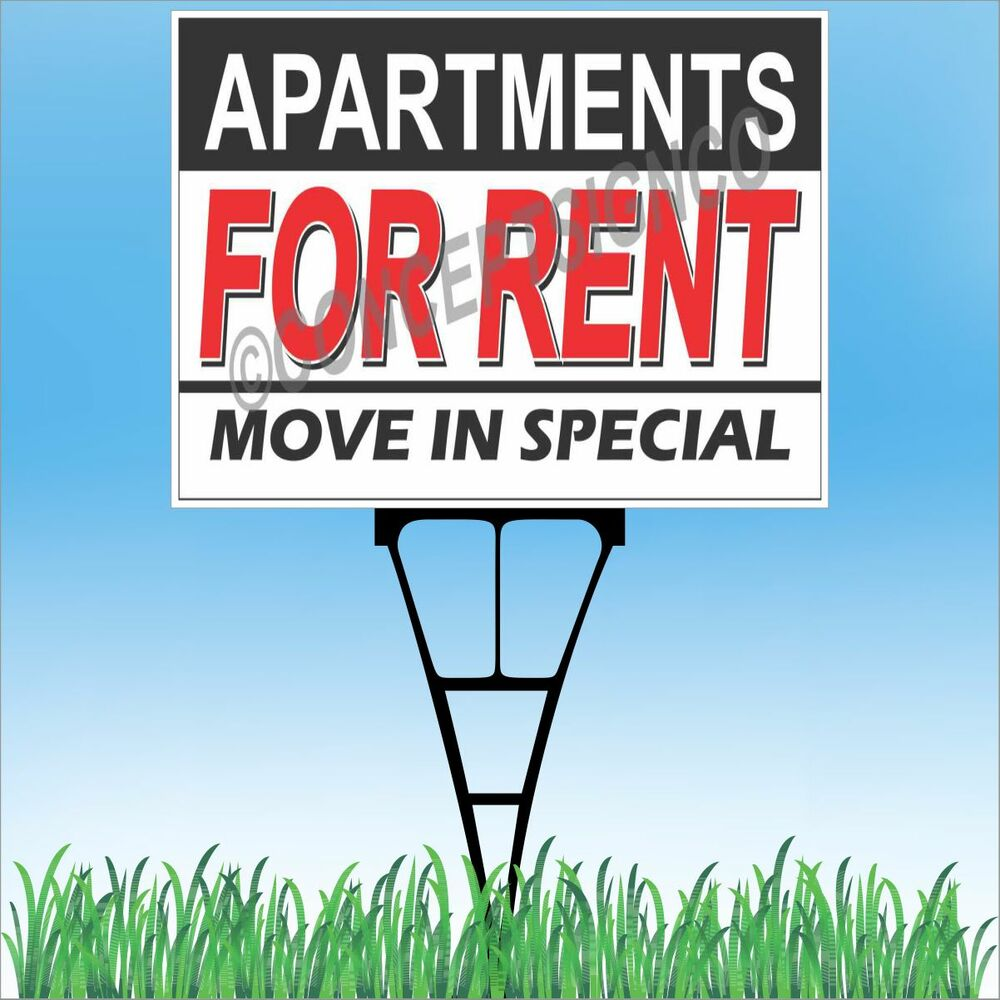 """18""""x24"""" APARTMENTS FOR RENT Outdoor Yard Sign & Stake Lawn"""