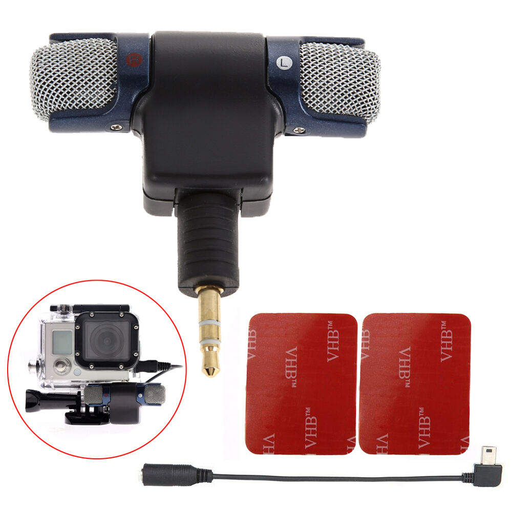 professional mini usb mic adapter stereo microphone for gopro hero 3 3 4 ebay. Black Bedroom Furniture Sets. Home Design Ideas