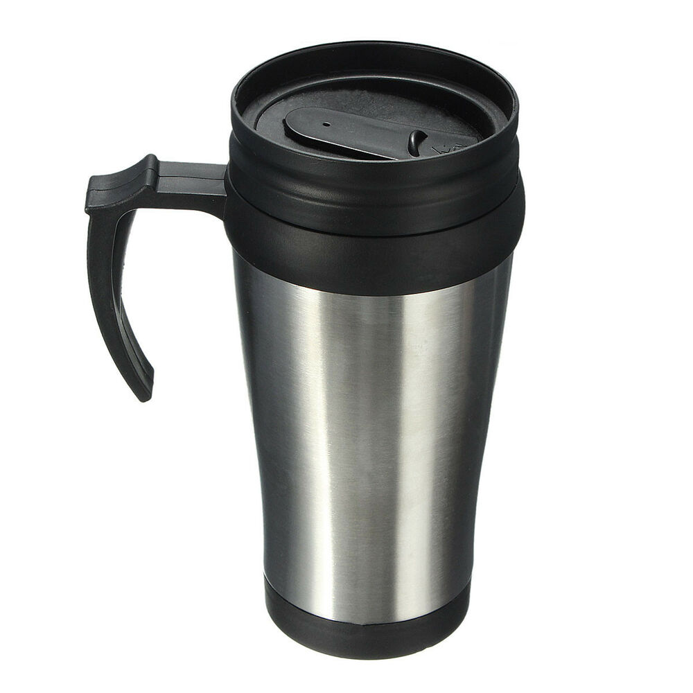 500ml thermal insulated stainless steel travel mug flask coffee tea cup lid ebay. Black Bedroom Furniture Sets. Home Design Ideas