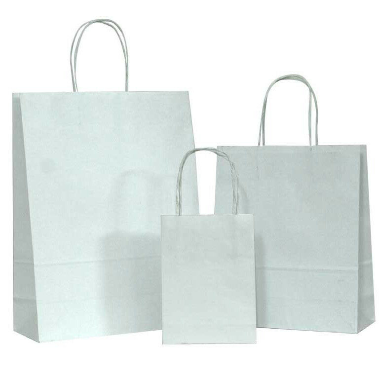 100 White Small Kraft Paper Bags Shopping Handles Party