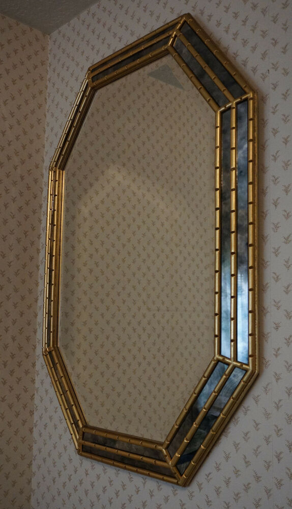 Vtg Hollywood Regency Octagonal Mirror Gilt Bamboo Frame