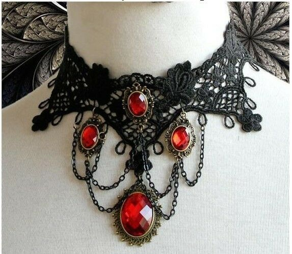 Ring In The Steampunk Decor To Pimp Up Your Home: GOTHIC VICTORIAN BURLESQUE LACE CHOKER LADIES NECKLACE