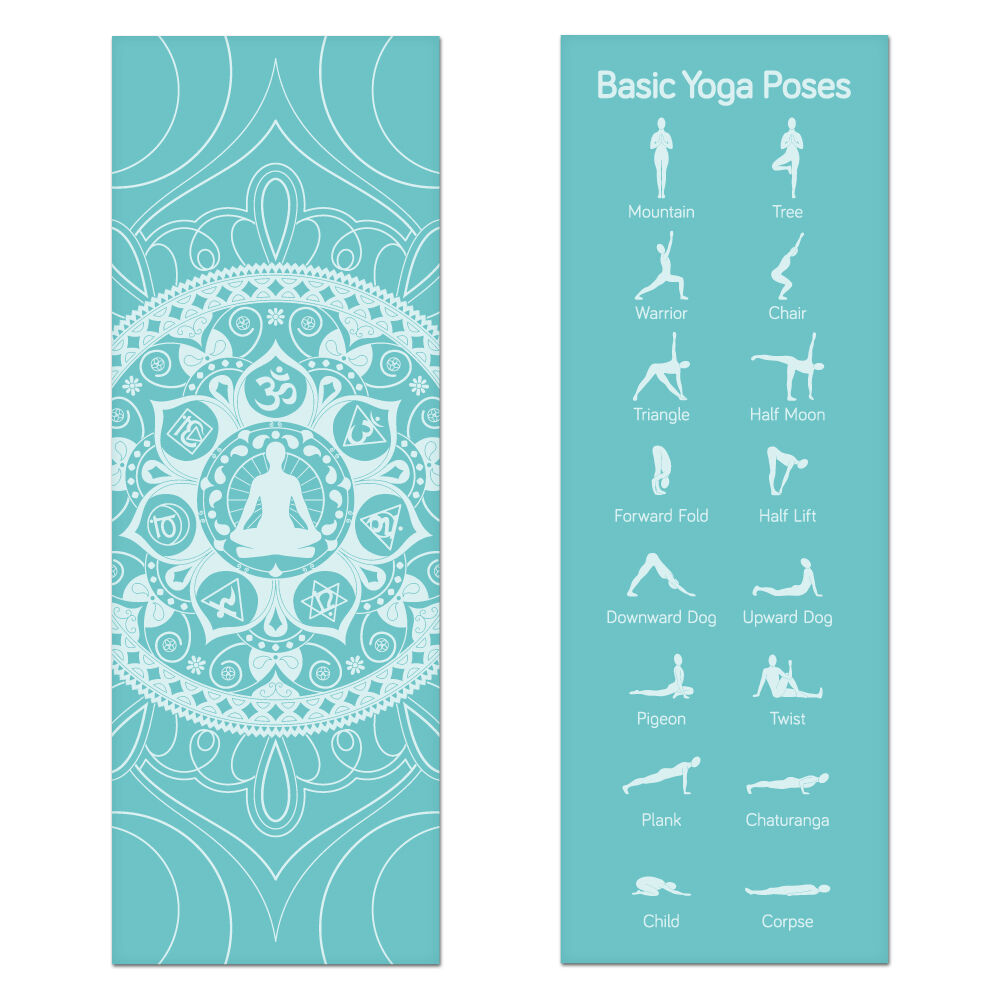 Teal Printed Design Yoga Mat With Poses Printed On One
