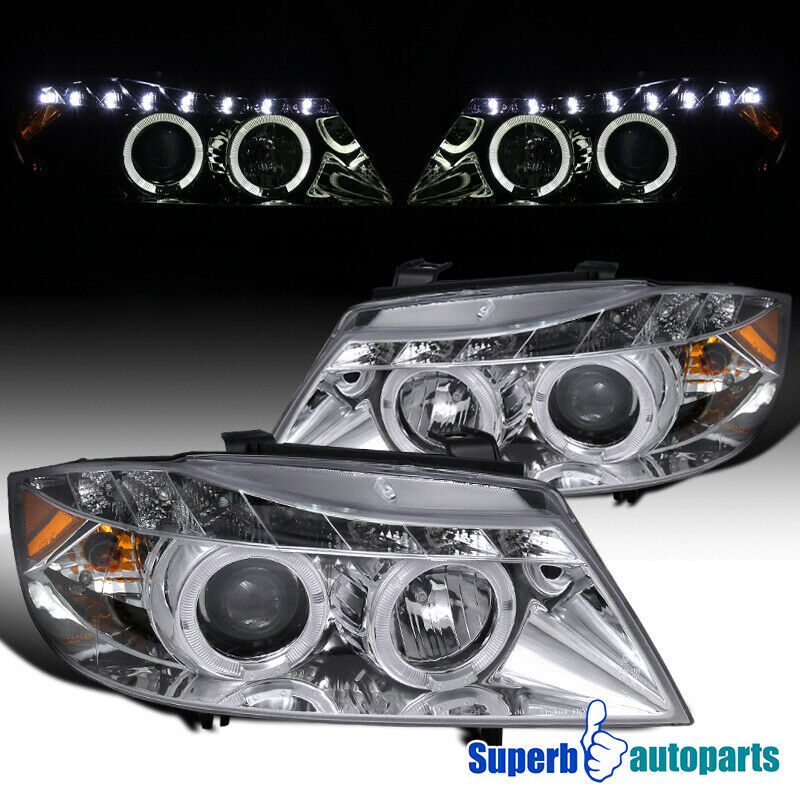 2006 2008 Bmw E90 4d Halo Clear Projector Headlights R8