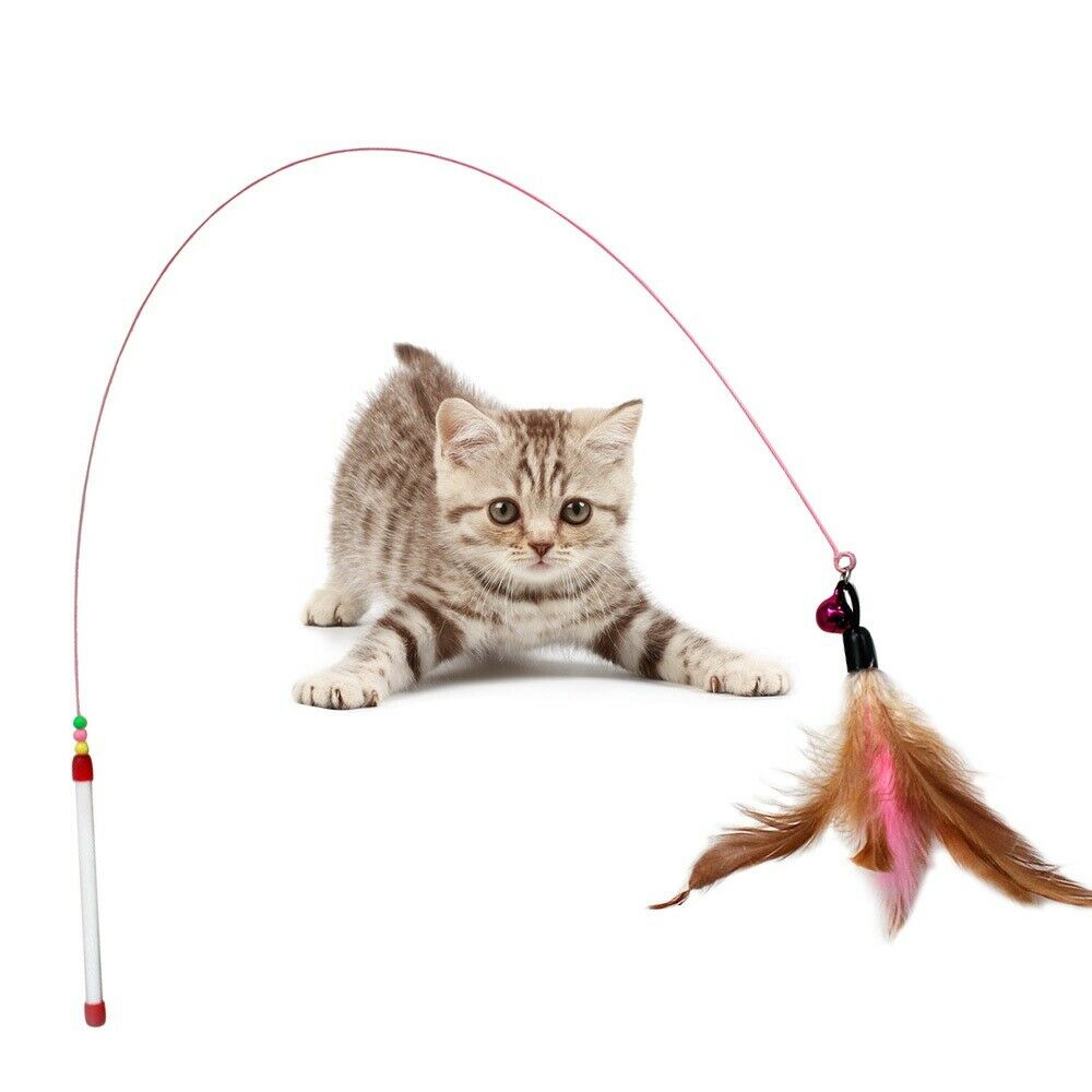 Funny Mouse Cat Toy Teaser Wand Feather Playing Cat Toys For Cats Kitten Plush Ball Interactive