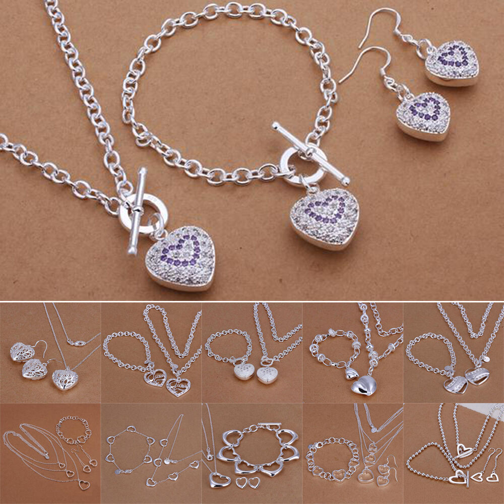 925 Silver Solid Ladies Heart Jewelry Set Fashion Necklace ...