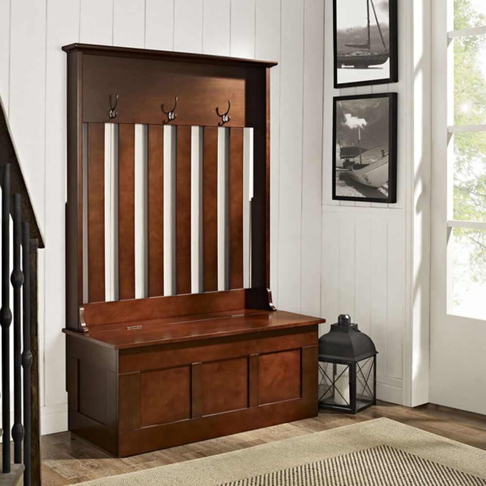 Hall Tree Storage Bench Coat Rack Stand Organizer Entryway Furniture Mahogany Ebay