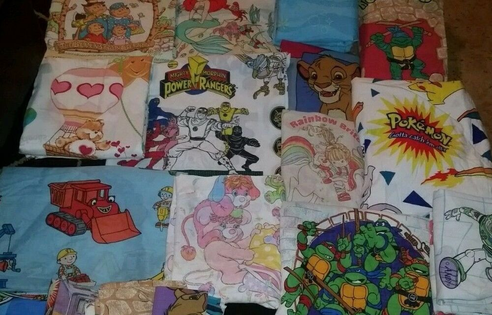 72 vintage cartoon character twin flat top bed sheets fabric each sold separate ebay. Black Bedroom Furniture Sets. Home Design Ideas