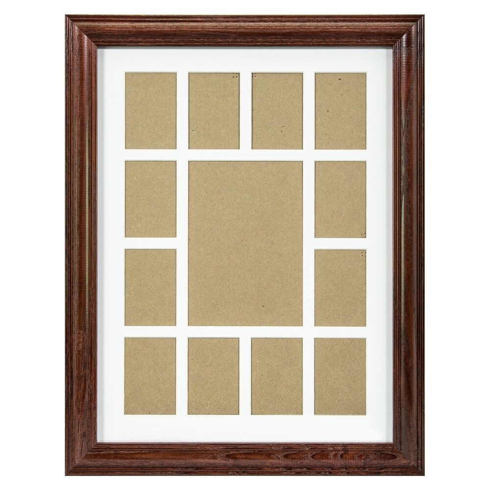 craig frames 12x16 cherry wood picture frame white collage mat 13 openings ebay. Black Bedroom Furniture Sets. Home Design Ideas