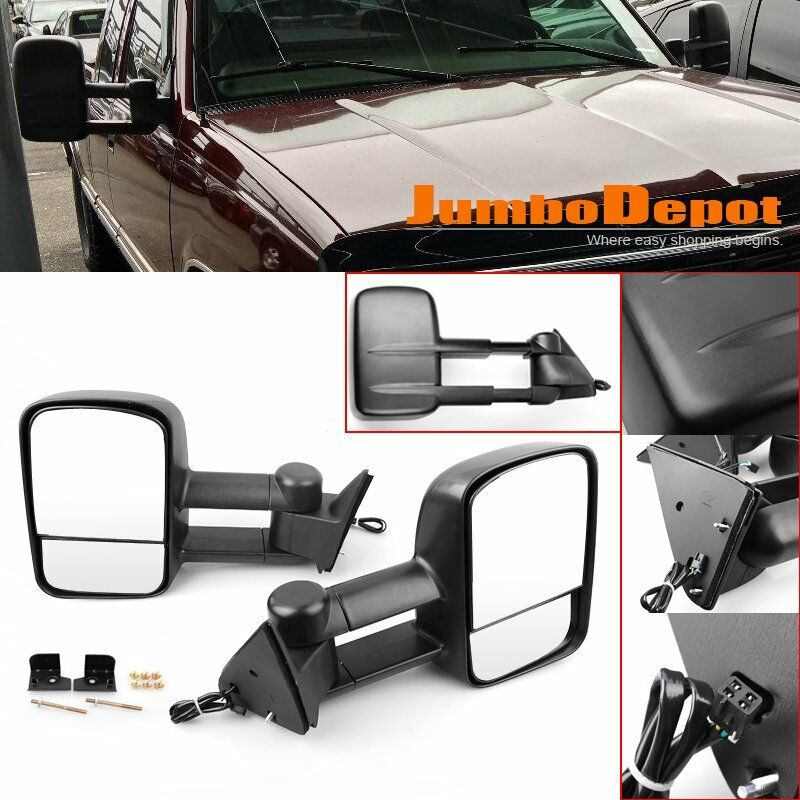 fit for 88 98 chevy gmc c k 1500 2500 3500 power extendable side towing mirrors ebay. Black Bedroom Furniture Sets. Home Design Ideas