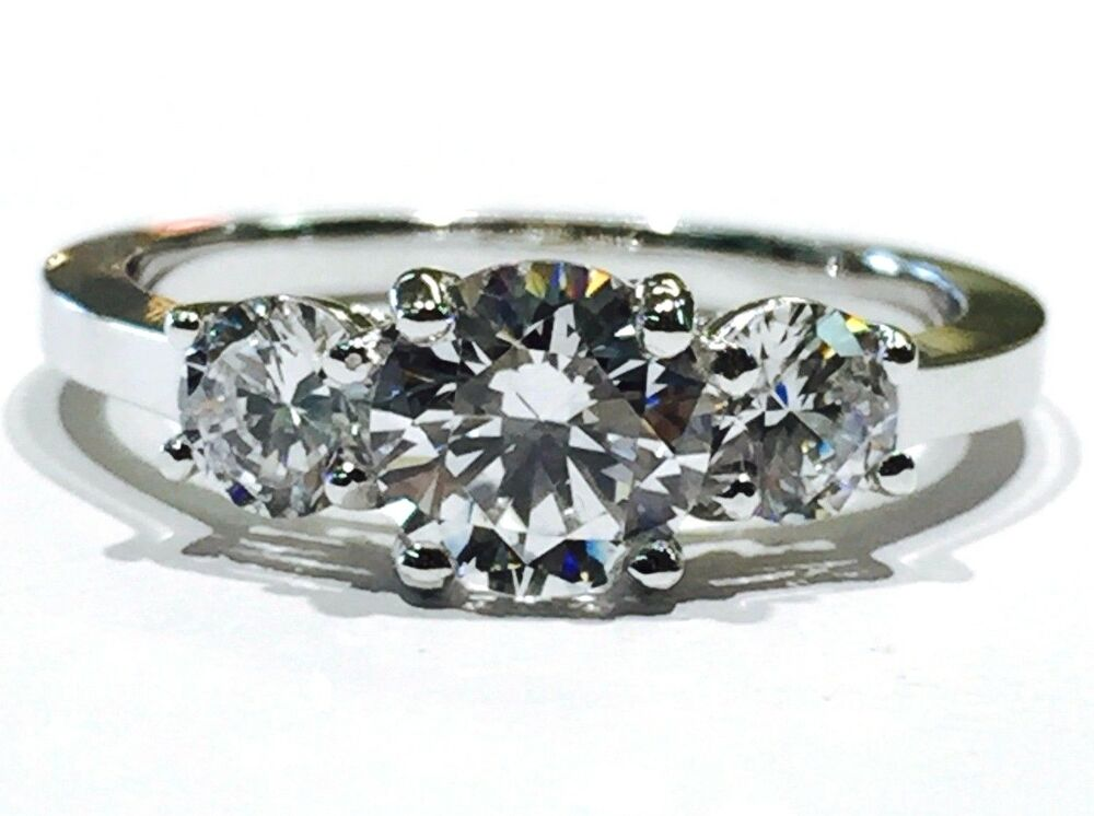 Solid 14K White Gold Round Three Stone Cubic Zirconia Engagement Ring 5mm C