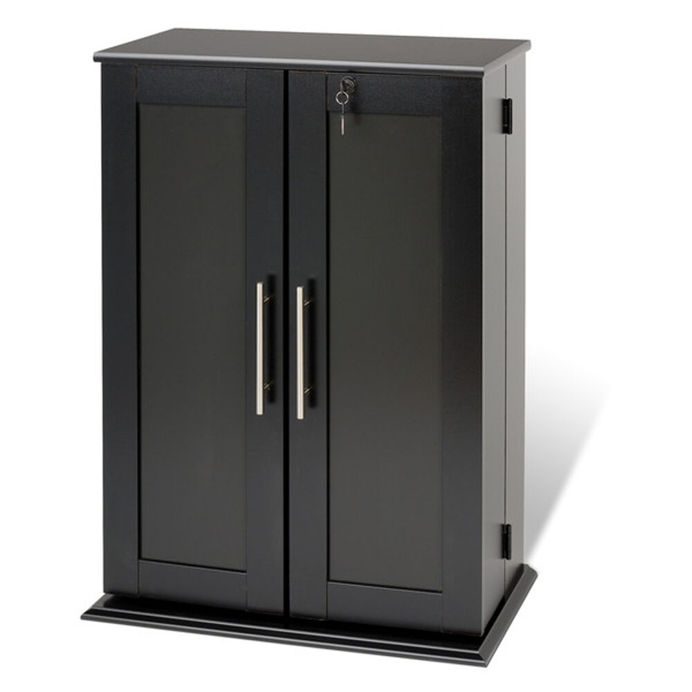 Multimedia storage cabinet cd dvd rack tower video media shelf organizer black ebay - Kabinet multimedia ...