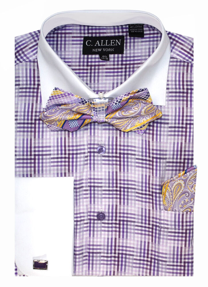 C allen mens dress shirt bow tie combo french cuff checks for Mens french cuff shirts