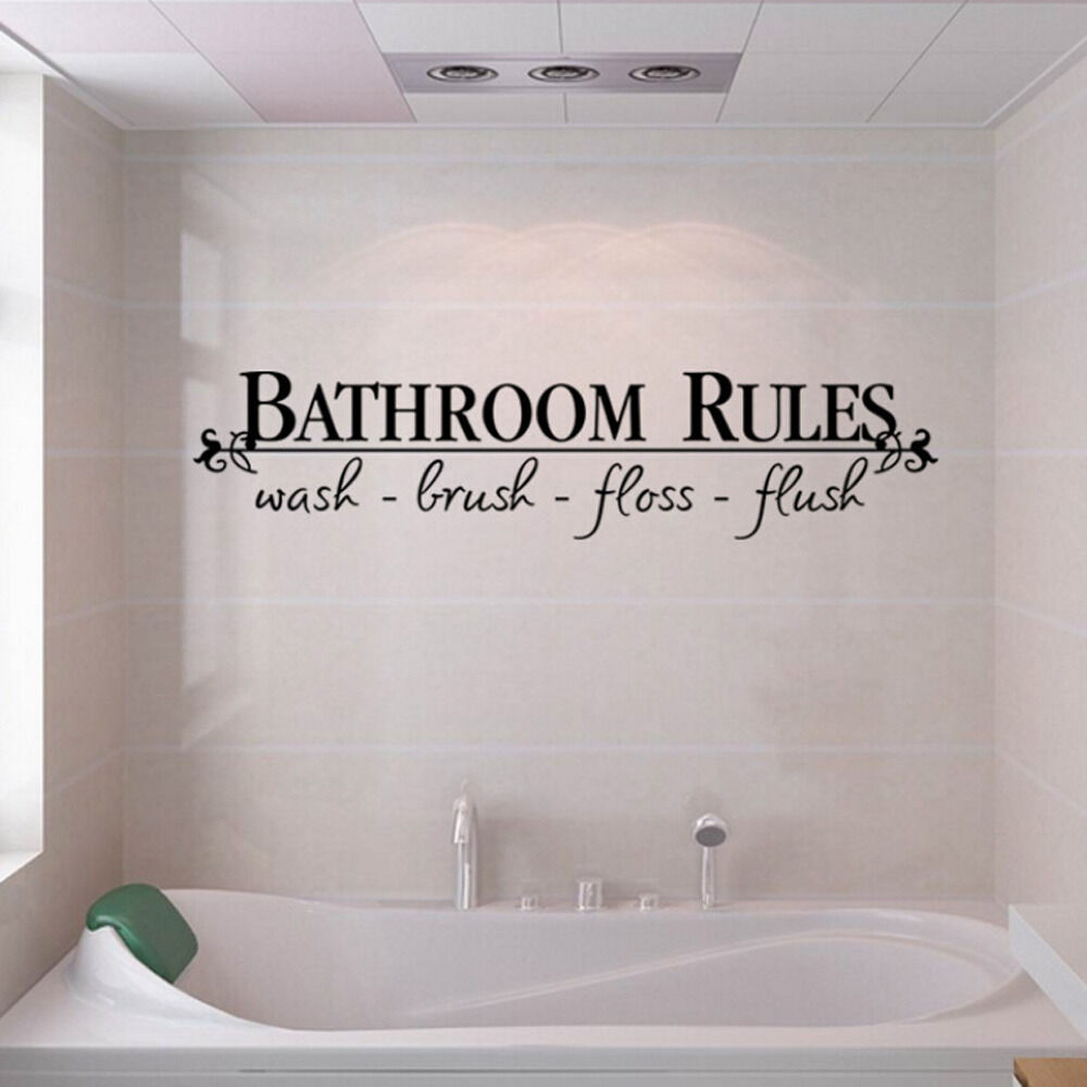 Bathroom Rules Quote Wall Decals Stickers Vinyl Art Home Diy Decor Us