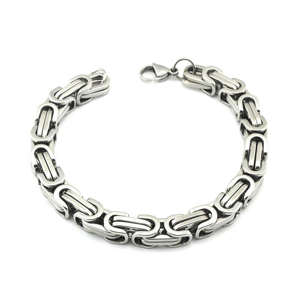 fashion mens stainless steel charms wristband clasp cuff