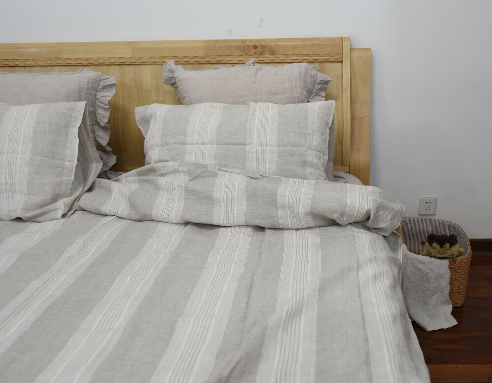 4 Pcs Washed 100 Linen Bedding White Oatmeal Striped
