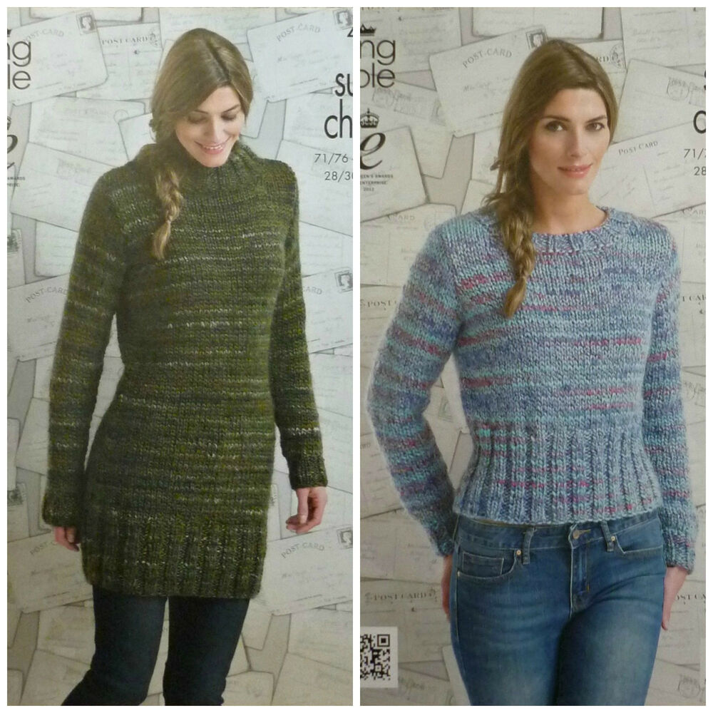 Knitting Pattern Ladies Short Sleeve Jumper : KNITTING PATTERN Ladies Long Sleeve Long & Short Jumper Gypsy Super Chunk...