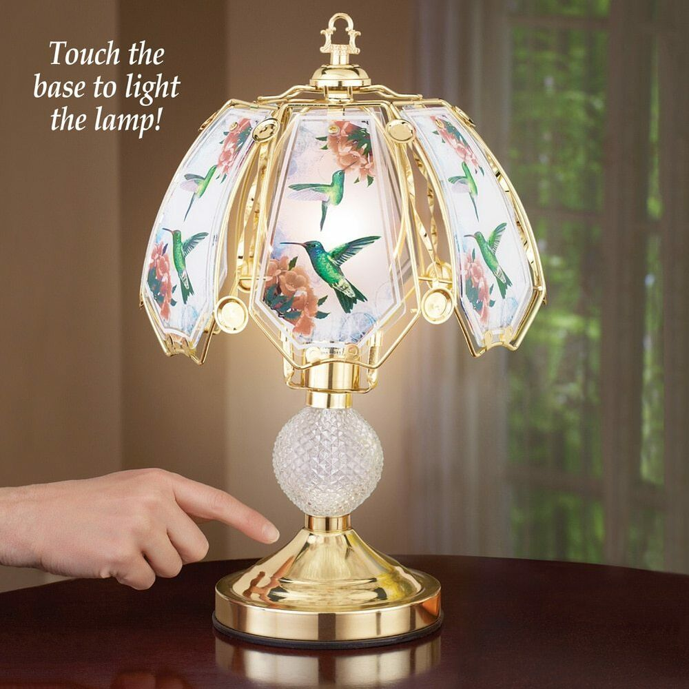 Touch Lamp 3 Setting Glass Hummingbird Flower Design Gold