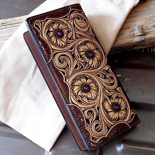 Leather craft pattern, long wallet pattern,sheridan-10 ...