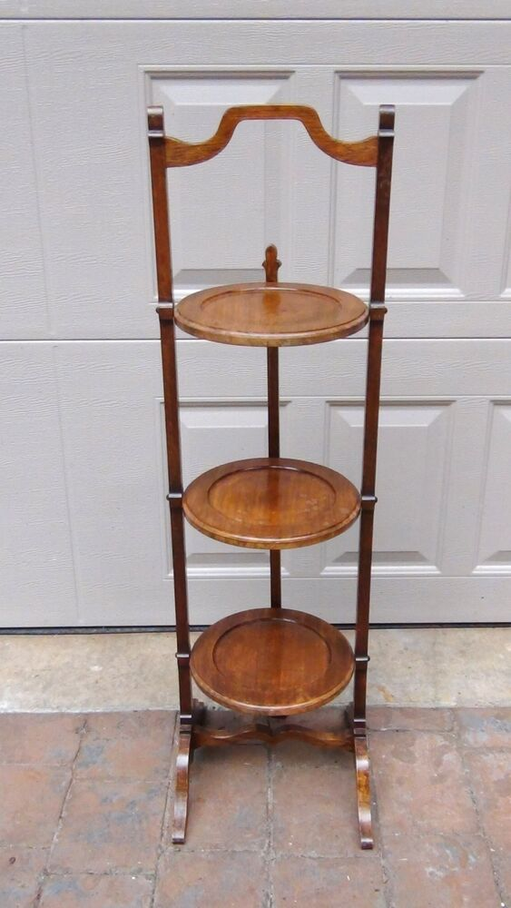 Antiques French Walnut 3 Tier Tilt Stand Serving Folding
