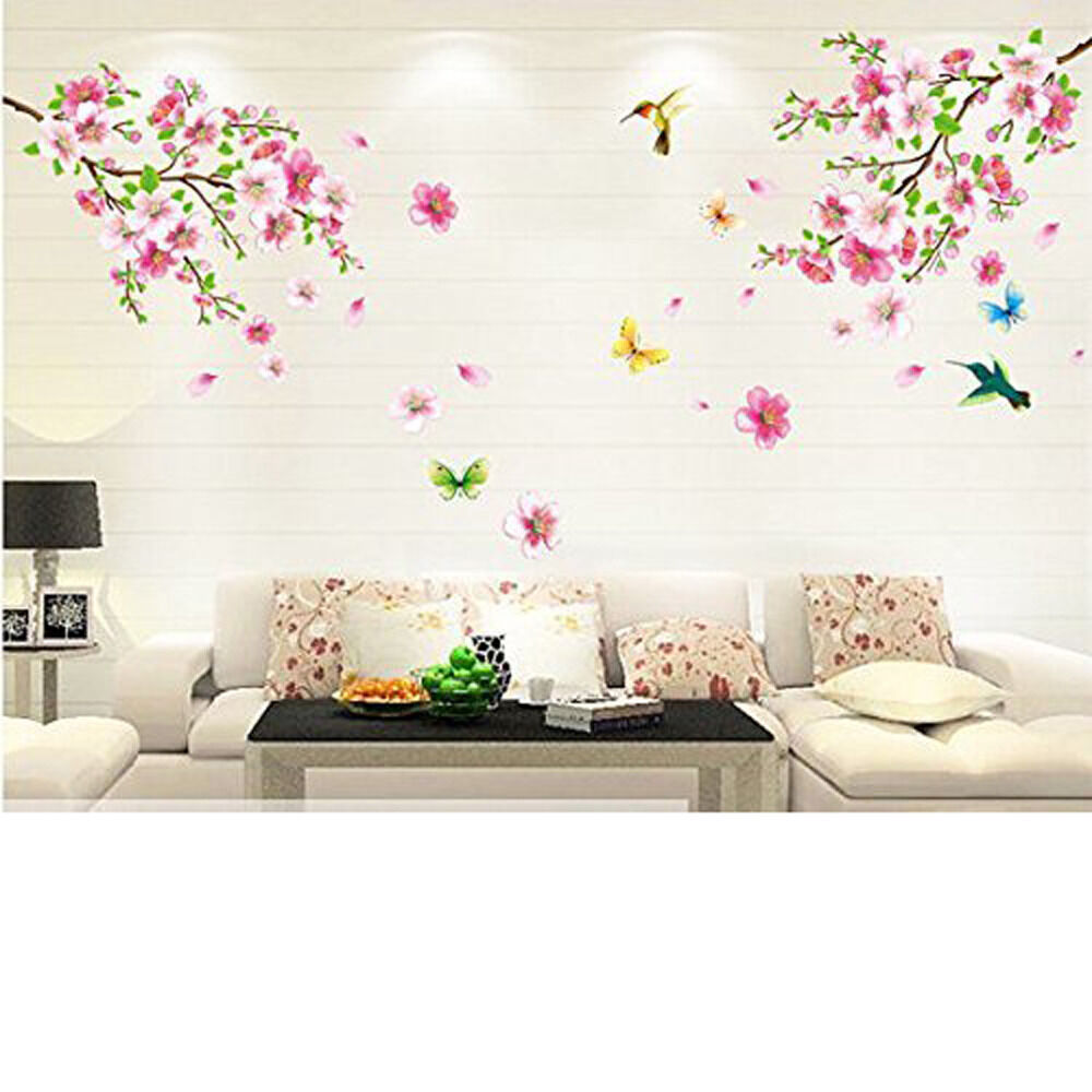 Cherry blossom tree flower butterfly wall sticker vinyl for Cherry tree mural