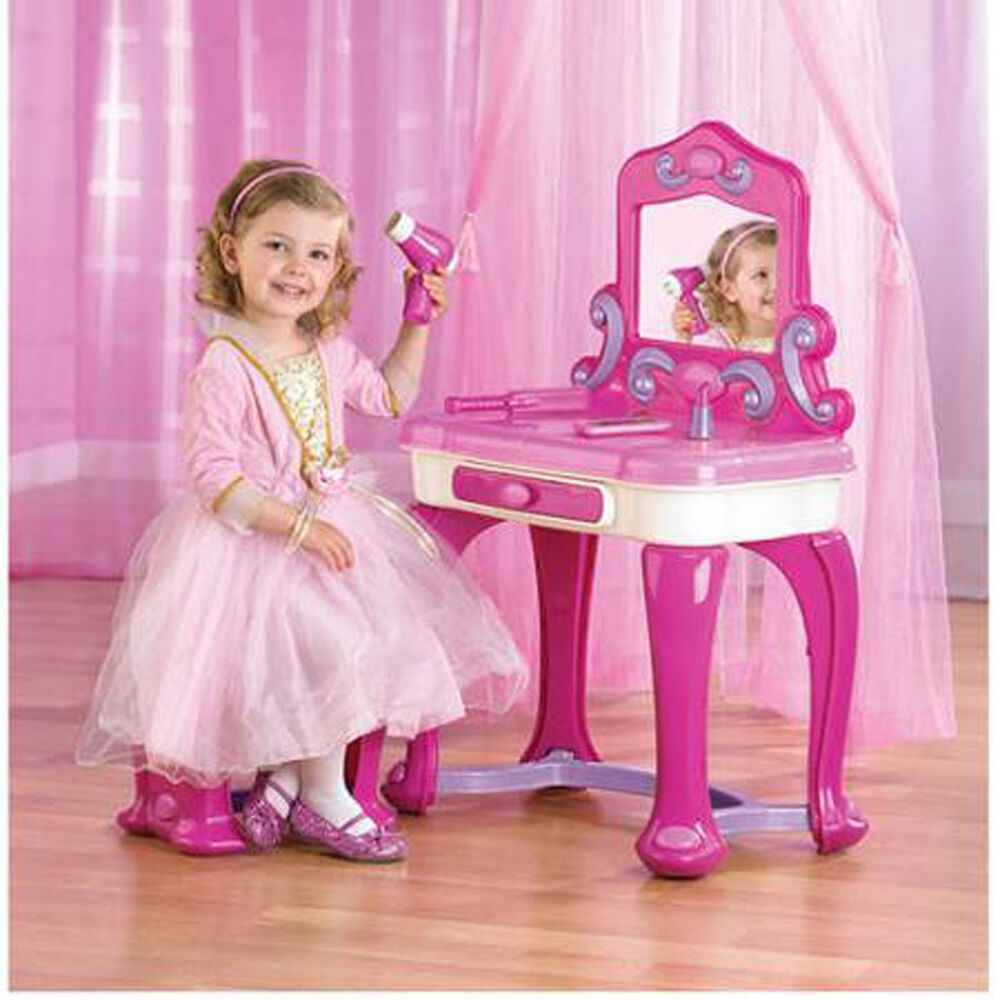 Kids Plastic Vanity Playing Set Pink Makeup Seat Girls