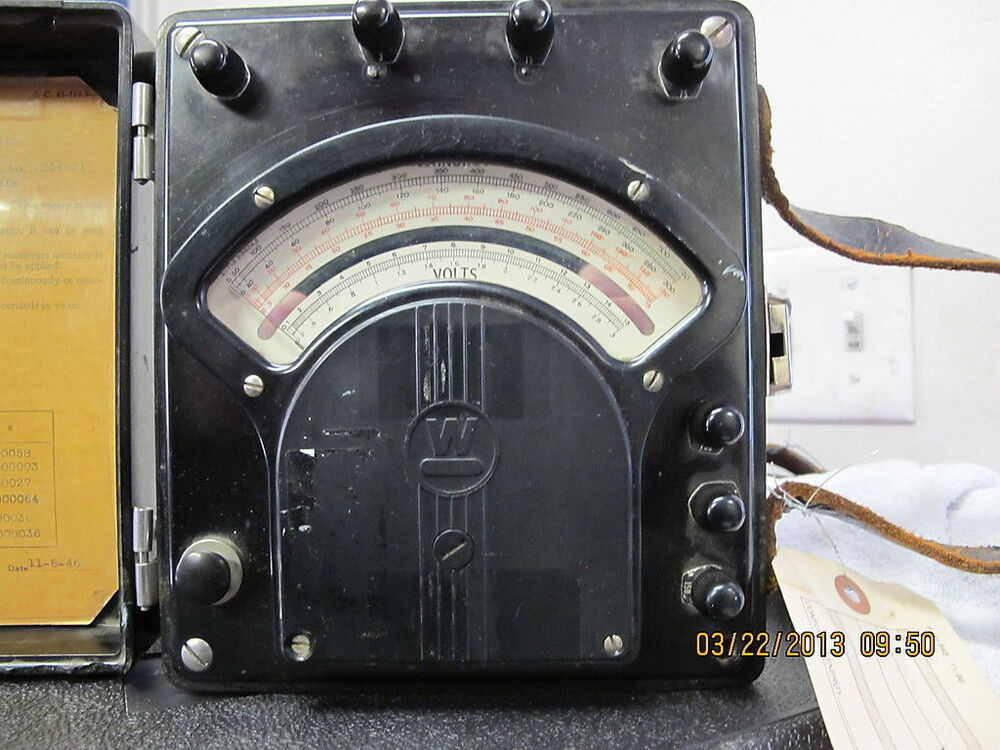Antique Electrical Measuring Instruments : Vintage westinghouse portable voltmeter type pa bakelite