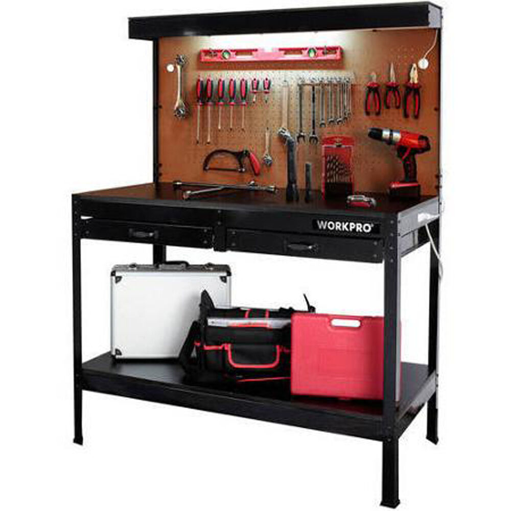 Workbench With Light Wood Steel Garage Work Bench Tools