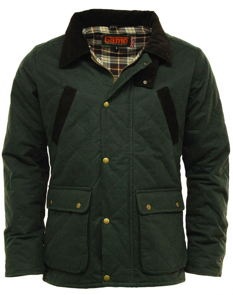 Mens Game Oxford British Made Quilted Wax Jacket Olive