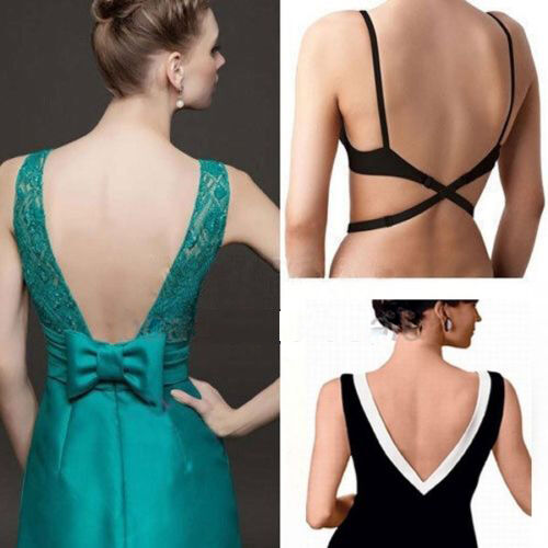 597f26fb4a865 Details about Women s Backless V Conversion Solution Low Back Bra Strap  Converter Extender 1PC
