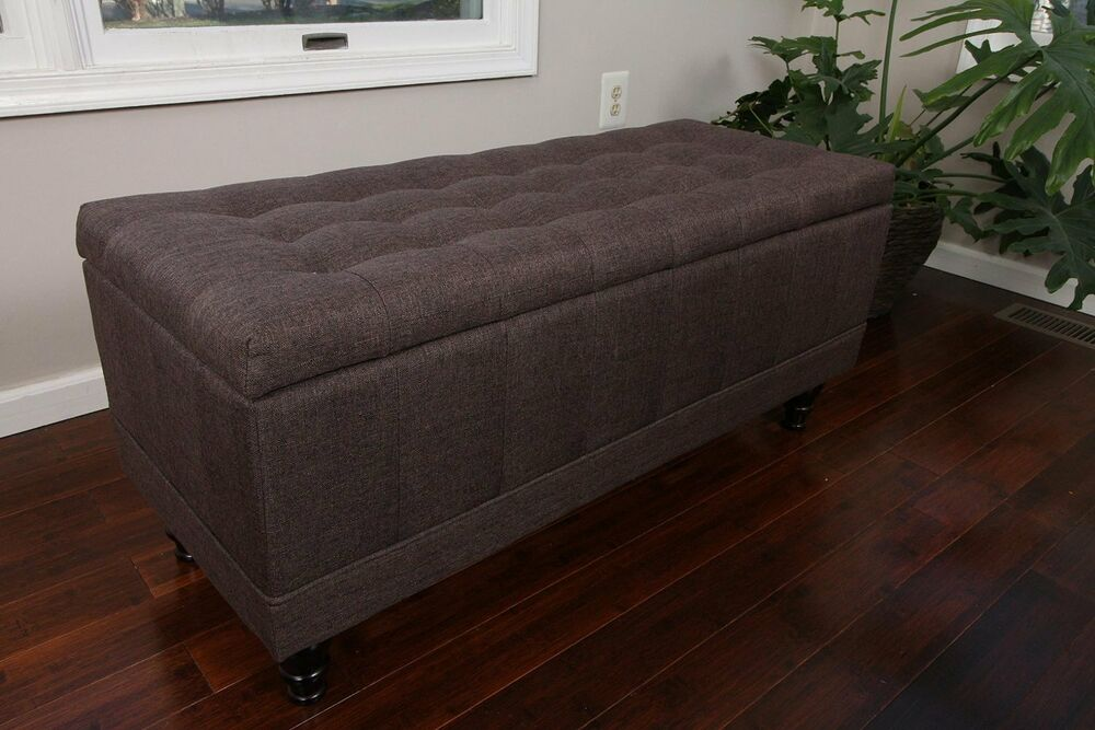 storage ottoman coffee table large tufted storage ottoman chocolate brown fabric bench 12416