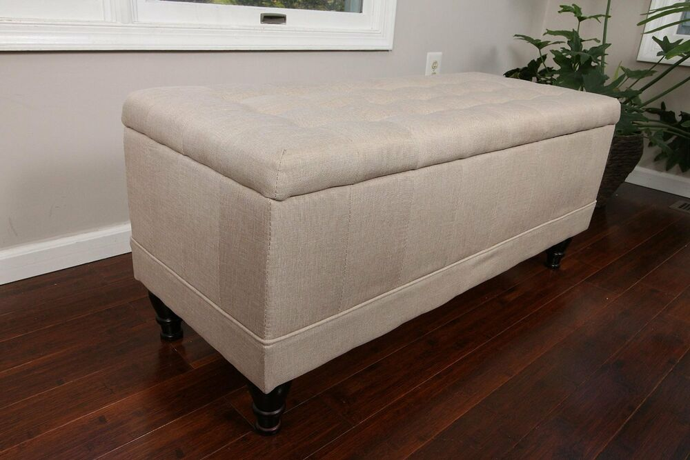 Large tufted storage ottoman light beige fabric bench foot rest coffee table ebay Ottoman bench coffee table