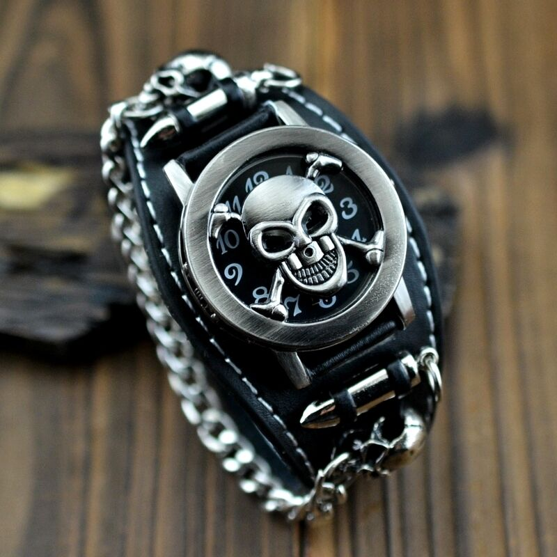 cool men 39 s punk biker skull chain round leather bracelet quartz wrist watch ebay