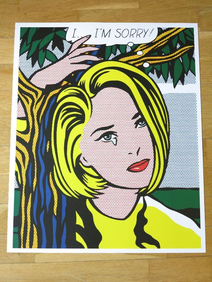 Roy lichtenstein poster i i 39 m sorry pop art original for Poster roy lichtenstein
