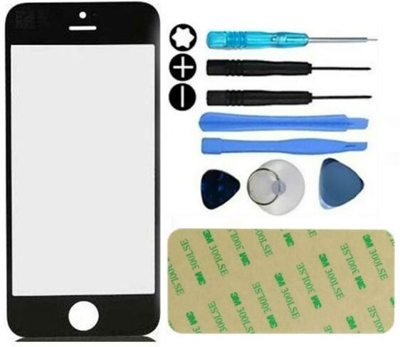 Front outer glass lens screen replacement repair kit for iphone 6 6s black ebay - Kit reparation iphone 6 ...