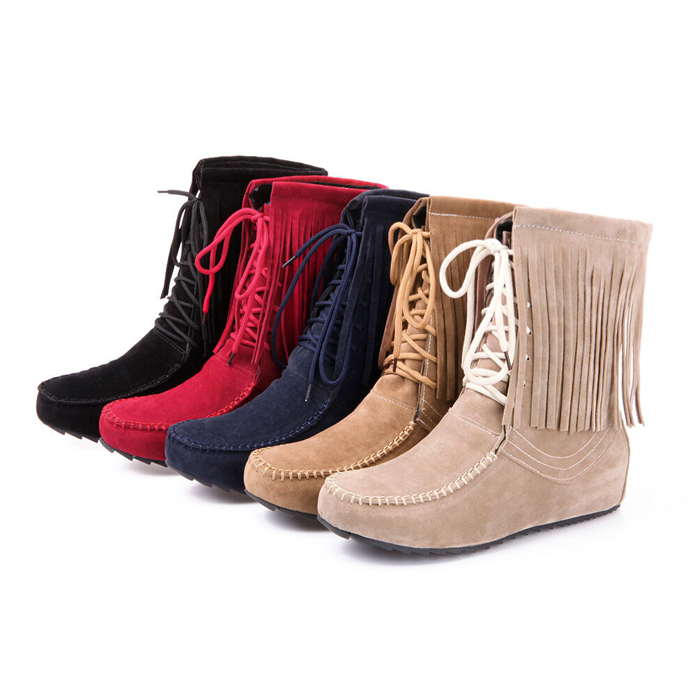 2016 spring Womens chic fringe flat heel ankle boots lace ...