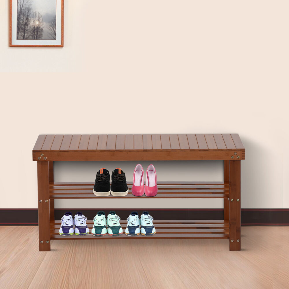 Wood shoe bench seat 2 shelf rack organizer storage entryway furniture red brown ebay Bench with shelf