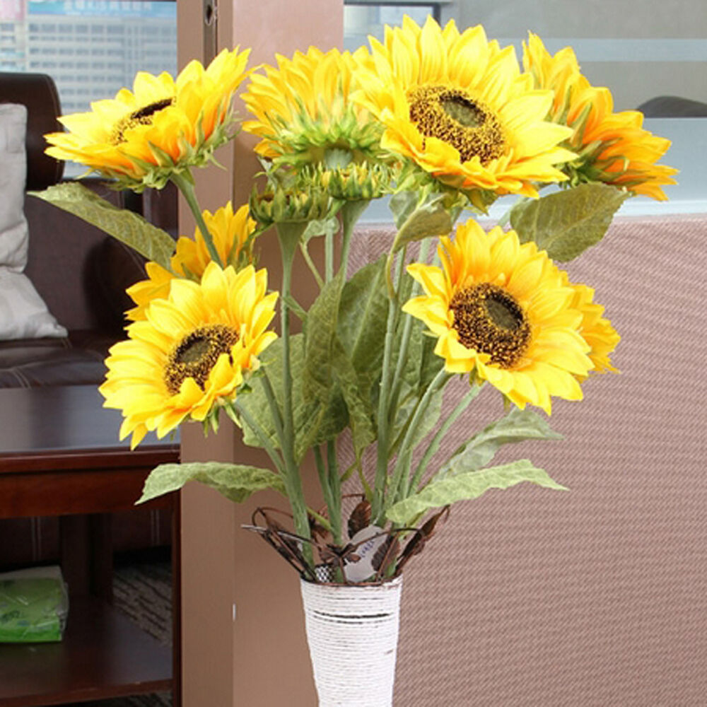 3 heads artificial sunflower silk flower home bouquet for Artificial flowers for home decoration online