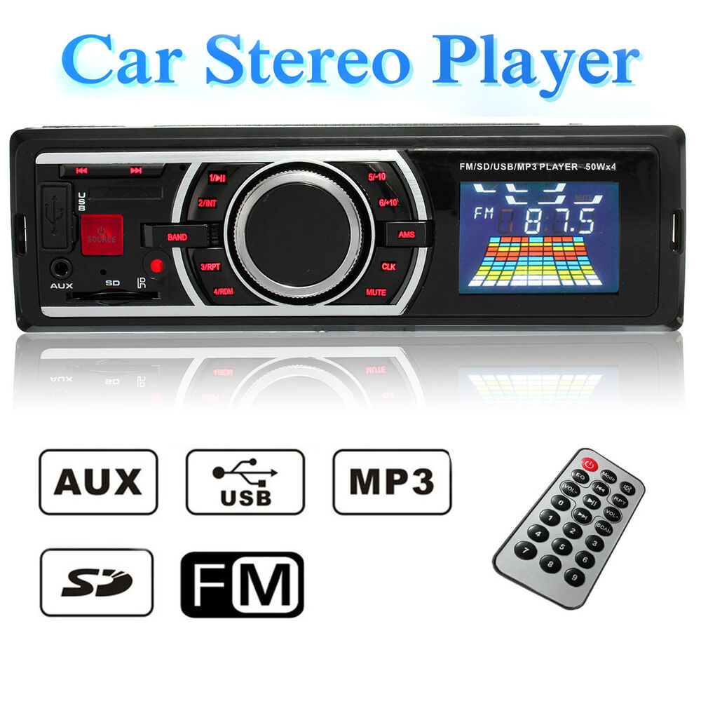 12v car 1 din in dash lcd audio stereo radio sd usb mp3 player aux w o cd reader ebay. Black Bedroom Furniture Sets. Home Design Ideas