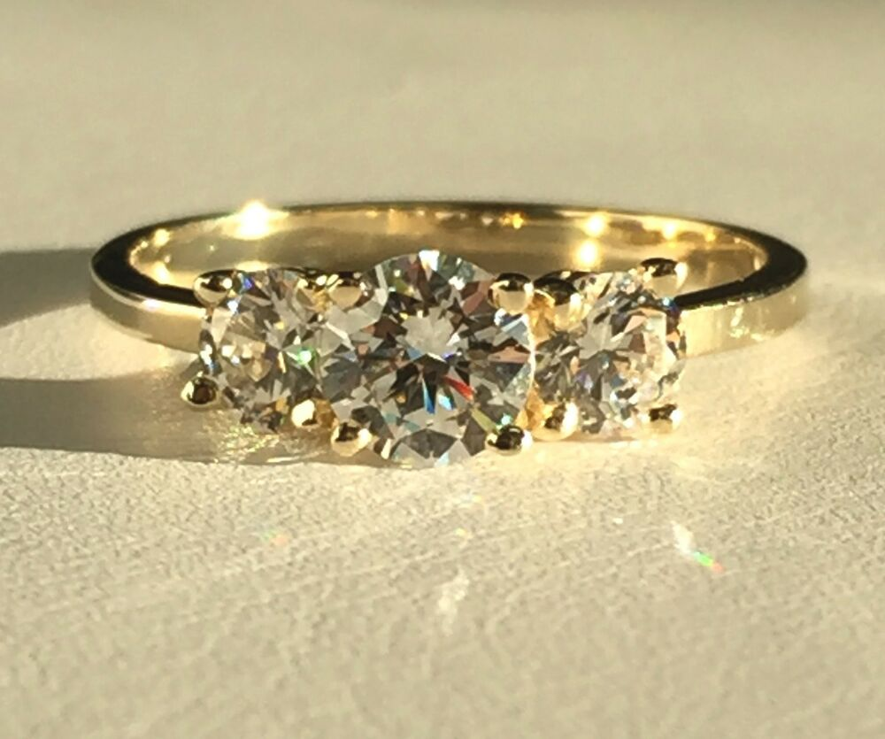 Solid 14k Yellow Gold 3 Stone Round Cut Cubic Zirconia