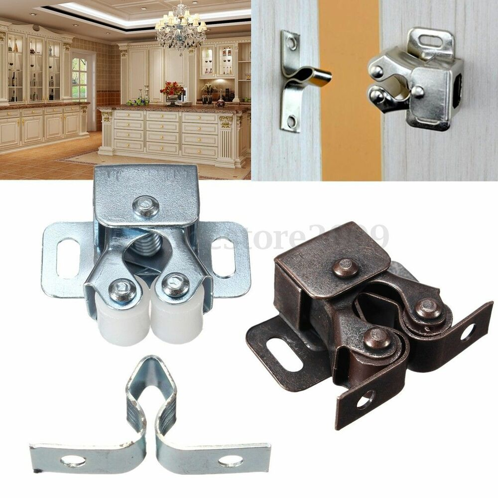 1 2 5 Pcs Double Ball Roller Catches Cupboard Cabinet Door Latch Hardware Copper Ebay
