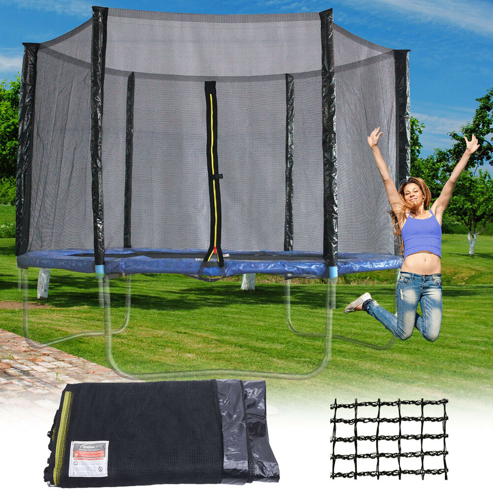 sicherheitsnetz 300 305 f r trampolin netz 6 stangen ersatznetz fangnetz 10ft ebay. Black Bedroom Furniture Sets. Home Design Ideas