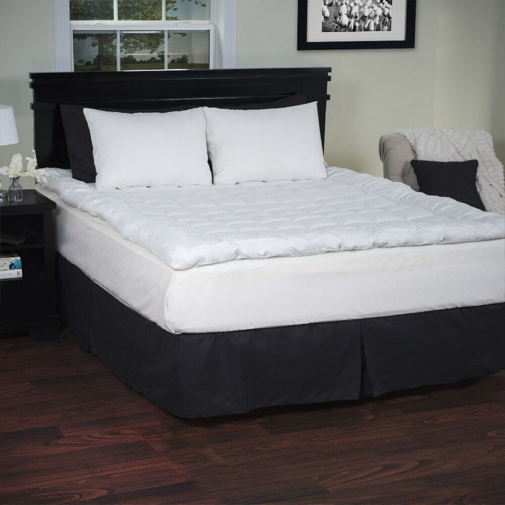 full size down alternative mattress topper 233 thread count 3 inches ebay. Black Bedroom Furniture Sets. Home Design Ideas