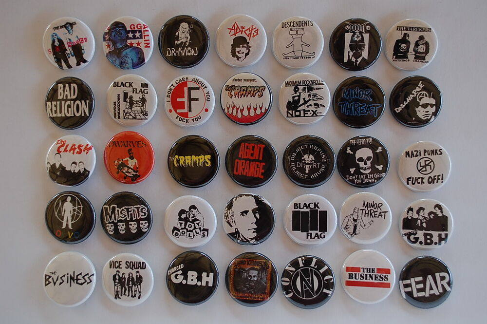 Punk rock buttons pins classic 80s 90s music inch for Classic 90 s house music list
