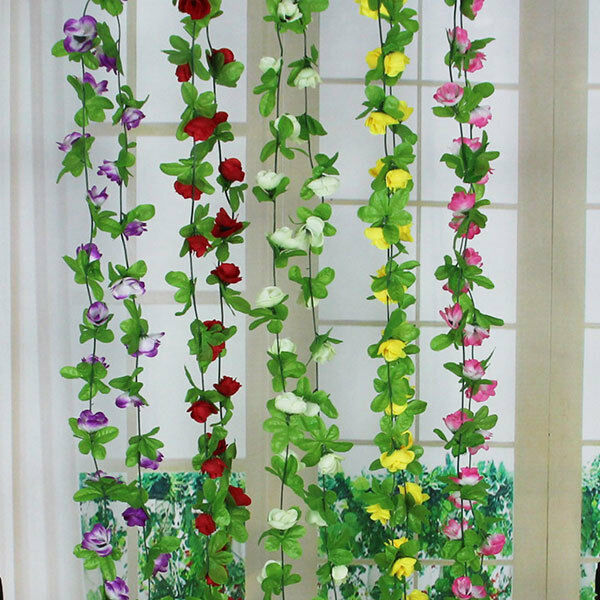 8 2ft Artificial Fake Rose Flowers Vine Hanging Garland Wedding Home Wall Decor Ebay