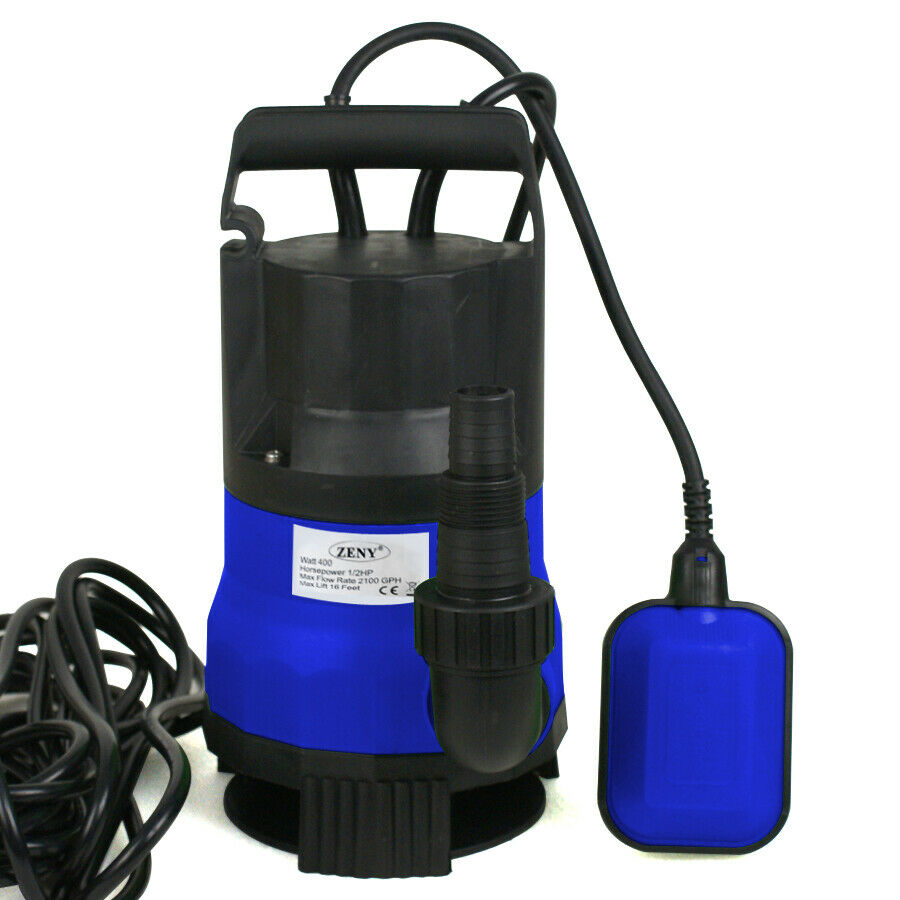 Submersible 2000gph water pump 1 2hp pool pond flood drain for Pond drain pump