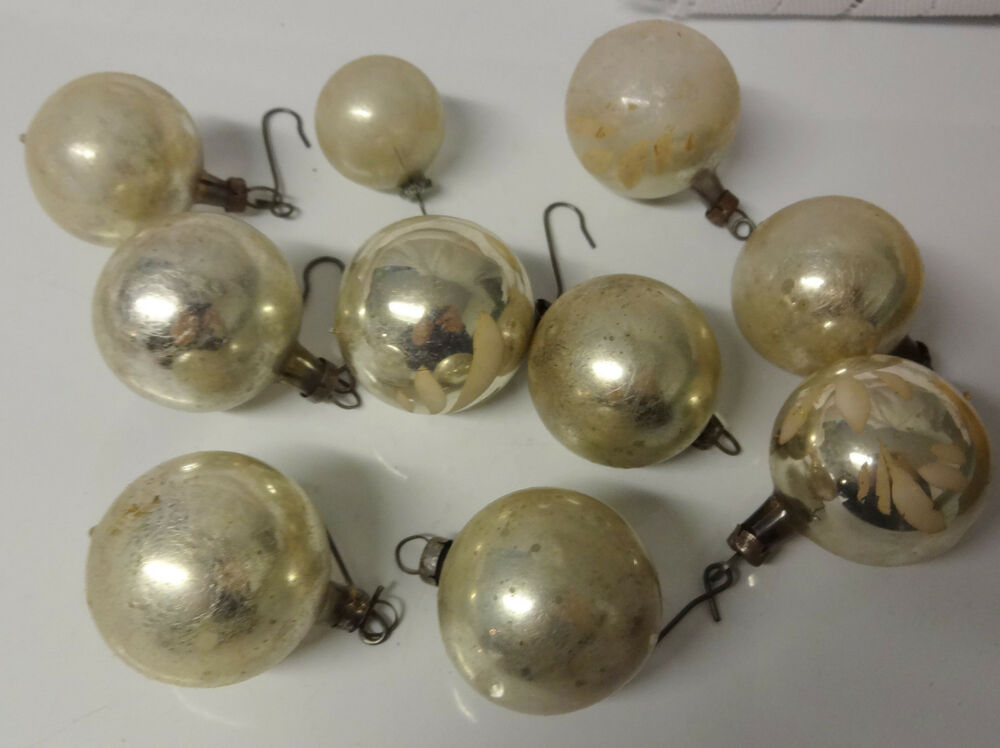 Antique mercury glass silver balls christmas feather tree Vintage glass christmas tree ornaments