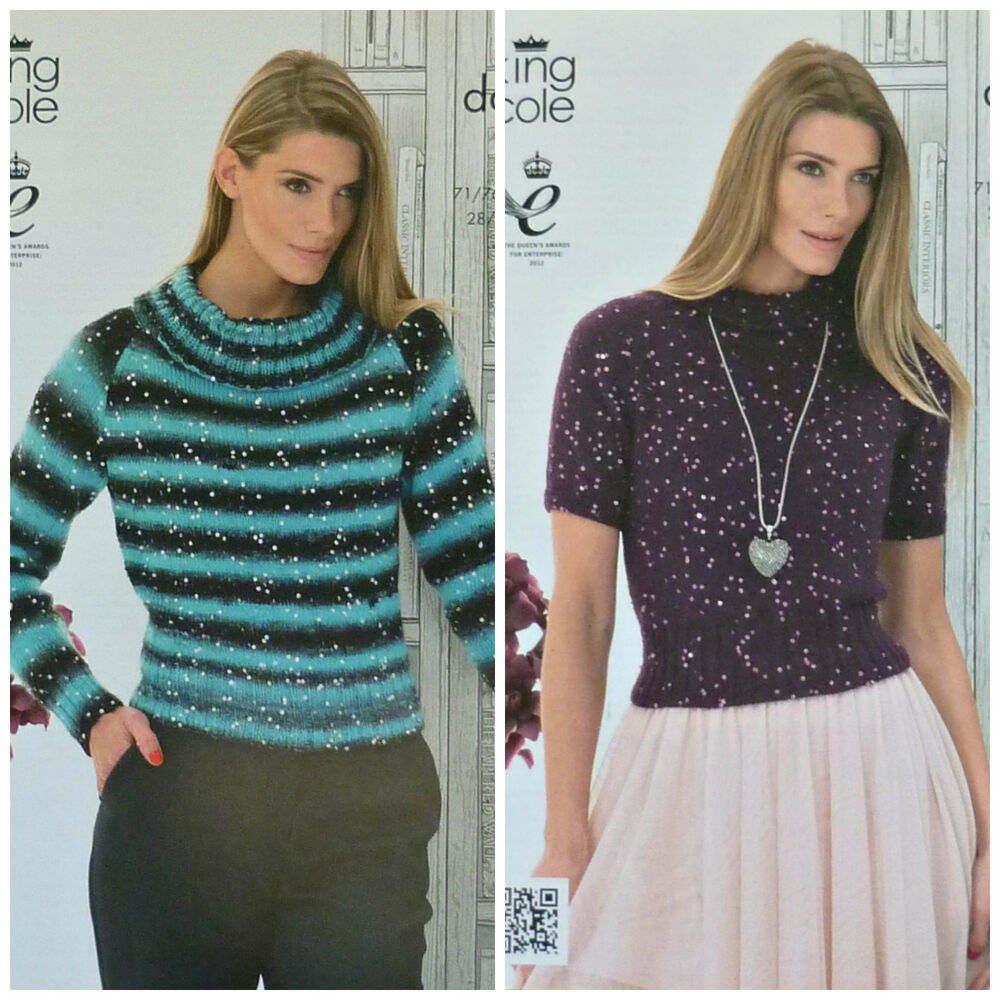Details about KNITTING PATTERN Ladies Long or Short Sleeve Roll Neck Jumper  DK King Cole 4109 a28b0cb42515